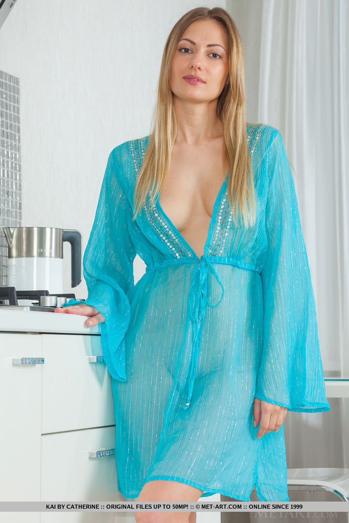 A beautiful blonde-haired beauty garbed in sheer aqua lingerie top that brings out her blue eyes. Kai debuts on Metart, showcasing her gorgeous body with elegance and finesse.