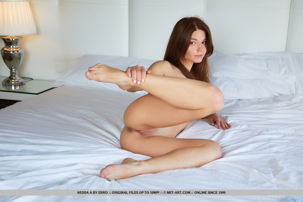Nedda A displays her delectable pussy as she strips her two-piece lingerie on the bed.