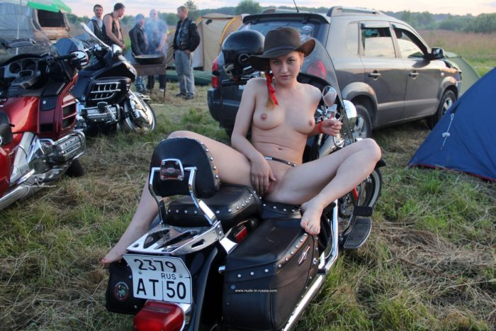 Hot Abbey spreads legs on motorcycle