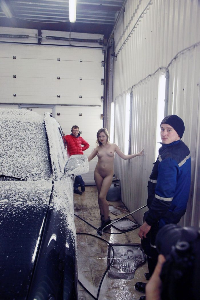 Hot russian girl Angelika at carwash service