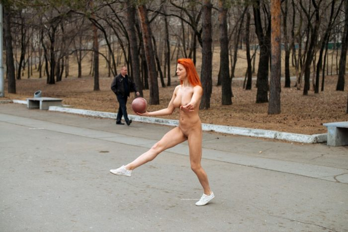 Sexiest girl Nata plays with ball at public park