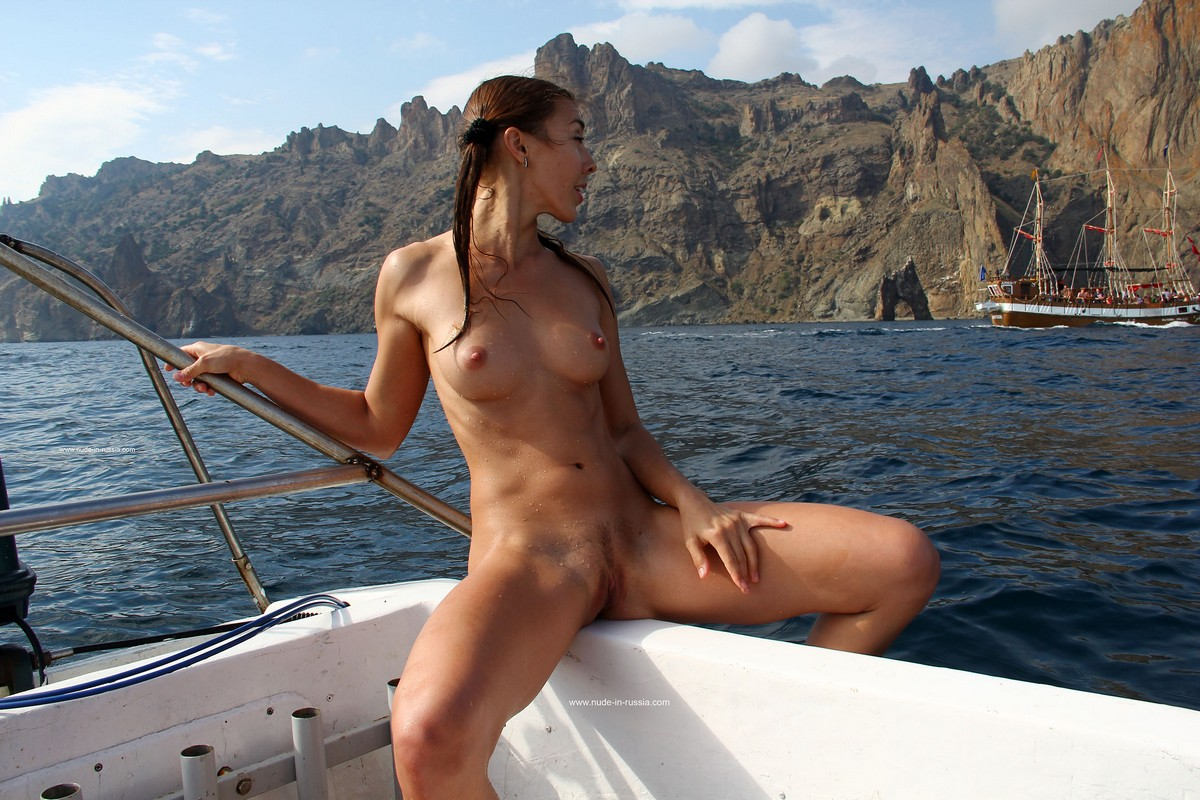Young Beautiful Woman On Yacht Nude Stock Photo