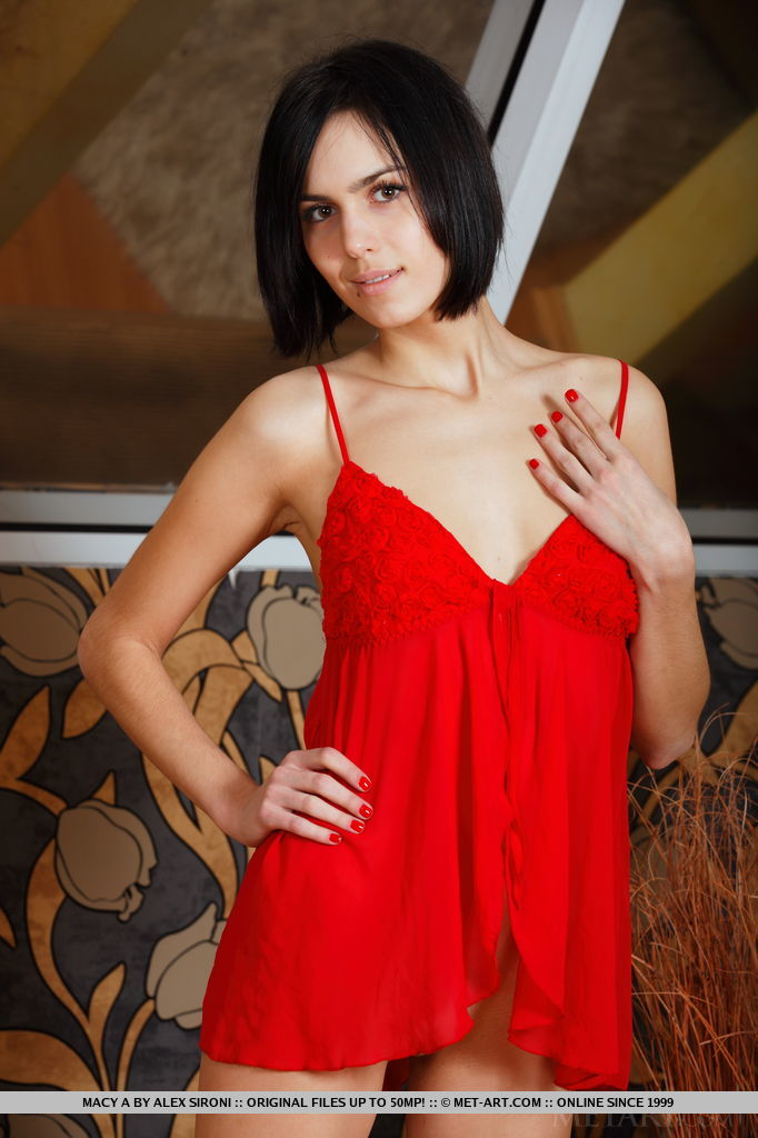 Macy A slides off her red dress and shows off her naked body