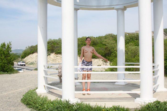 Russian girl Alisha takes off panties at viewpoint