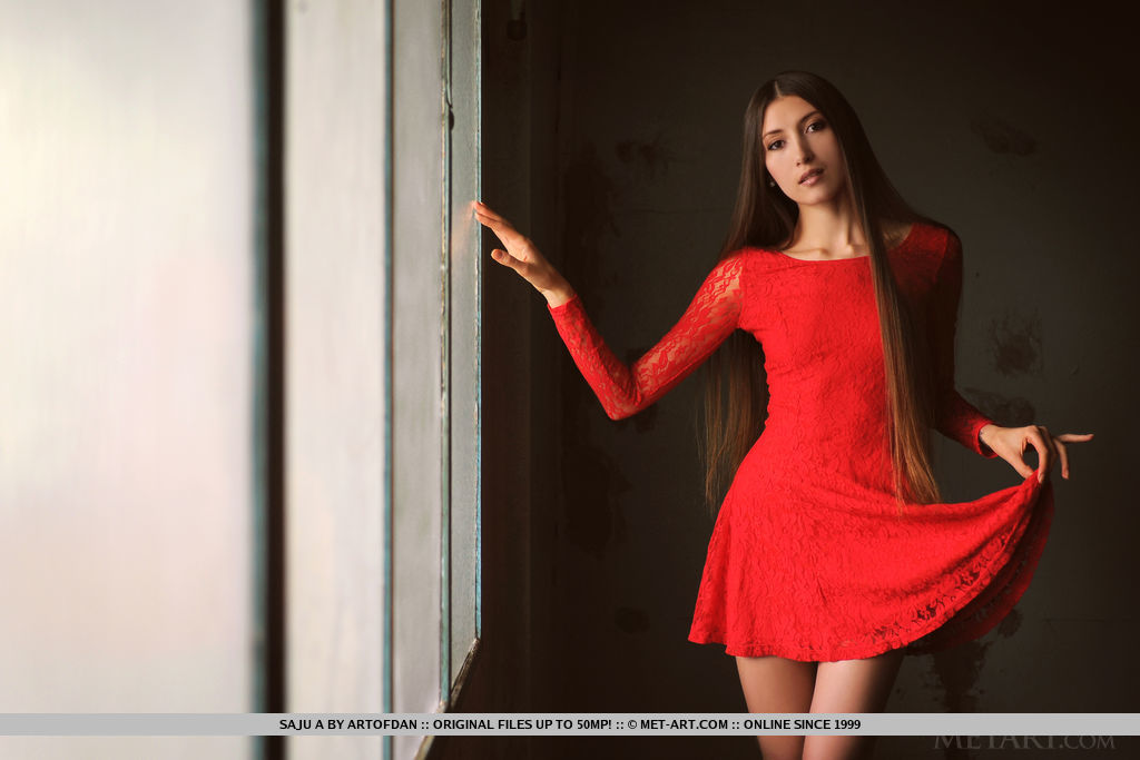 Saju A erotically strips her red dress as she flaunts her flexible body and sweet pussy.