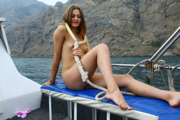 Sexy girls Olga W on the boat
