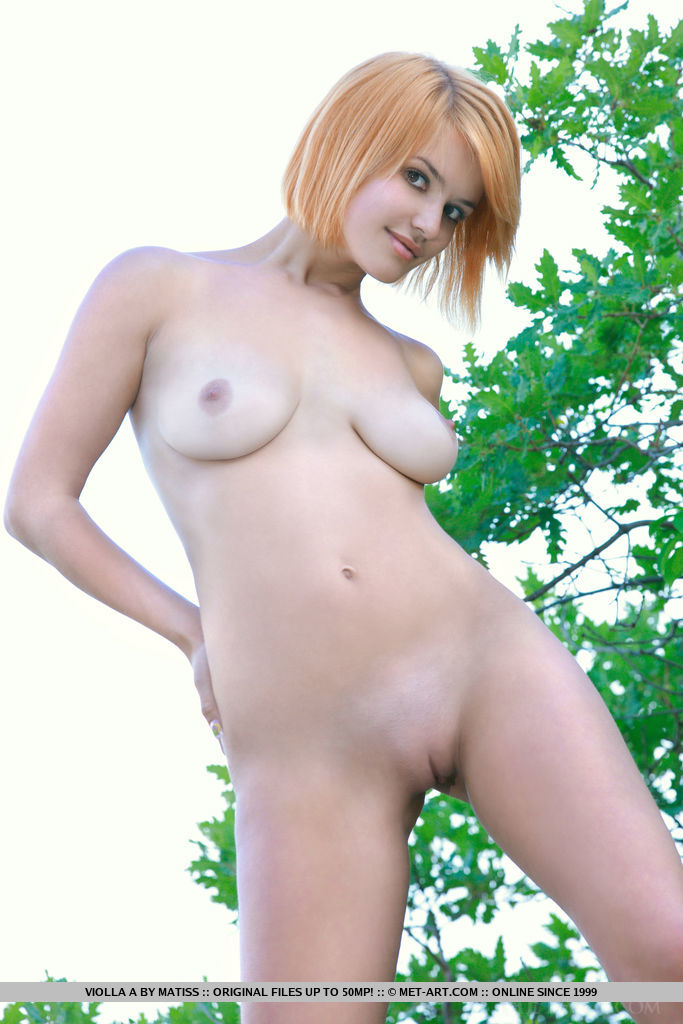 Violla A displays her luscious body and amazing tits as she poses naked outdoors.