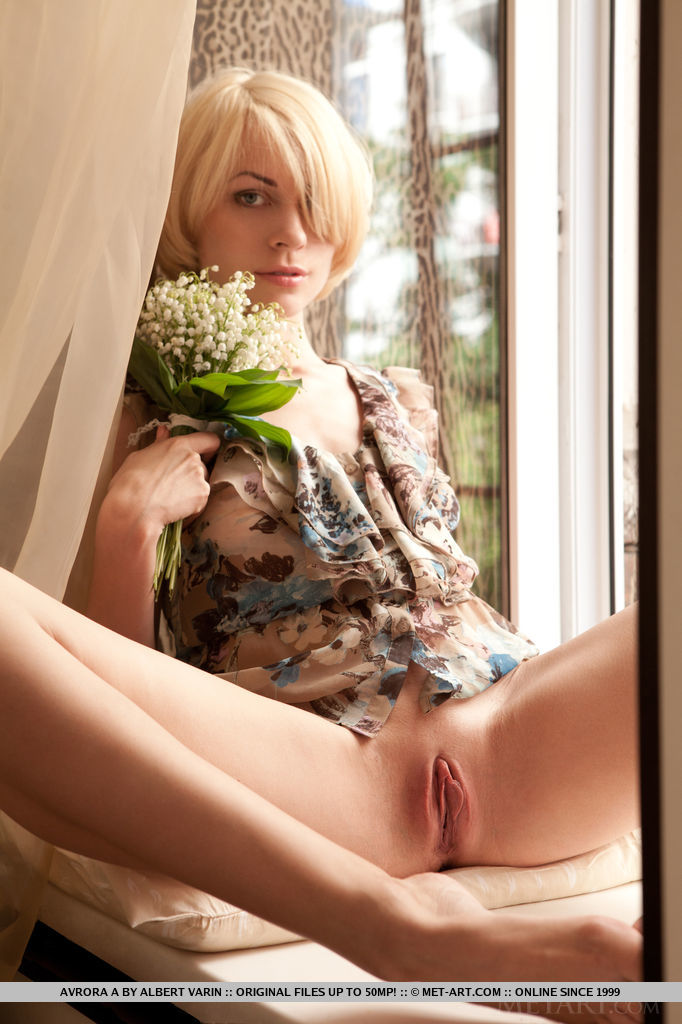 Avrora A, a beautiful brown-eyed blonde with lickable pussy