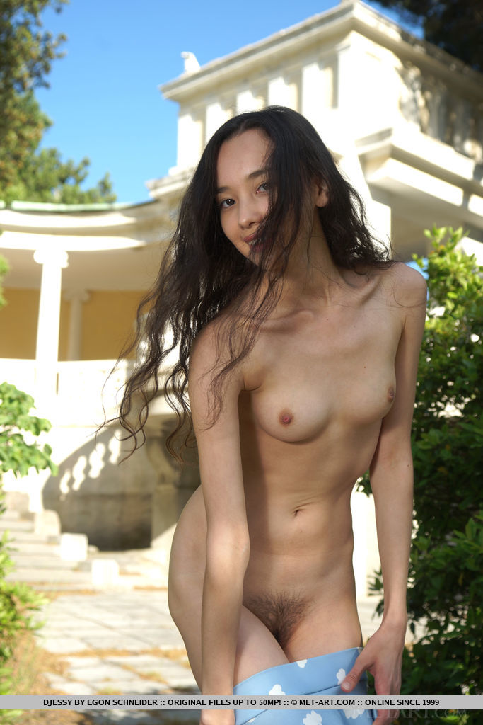 Djessy strips outdoors as she bares her hairy pussy.