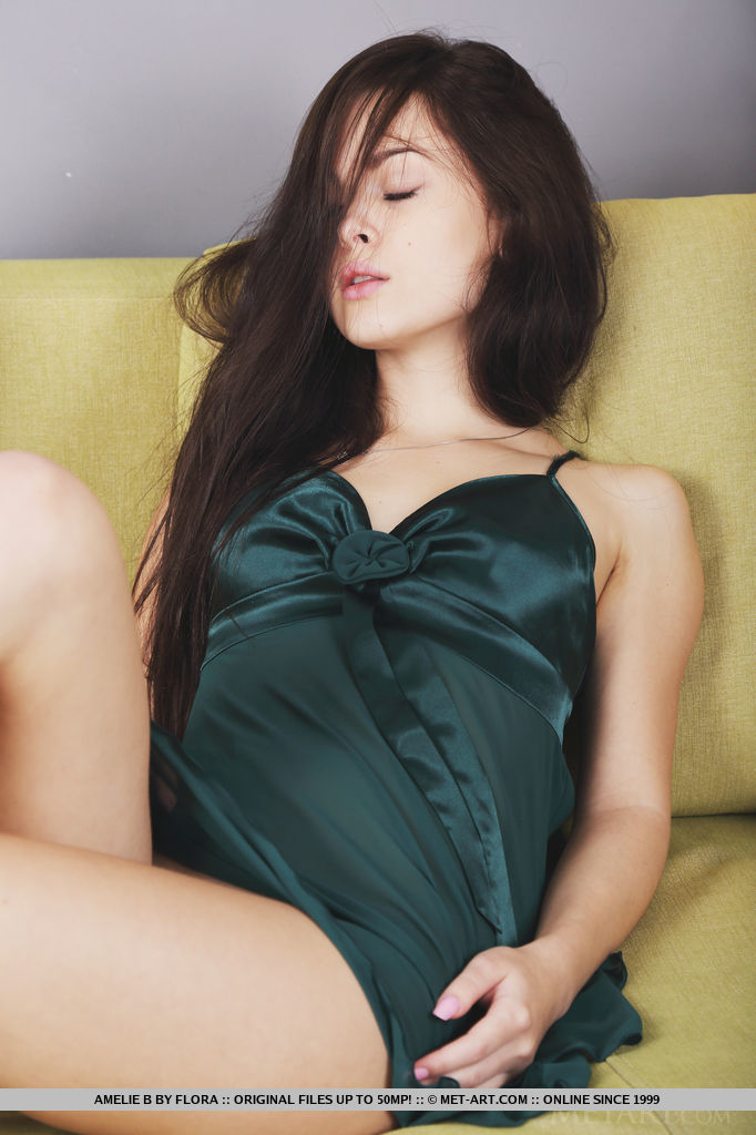 Amelie B is so sexy in her teal nightie as she poses seductively for you