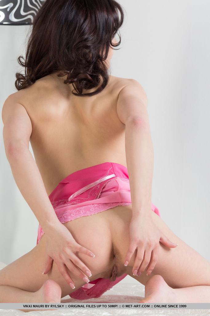 Petite Vikki Mauri shows off her tight slit