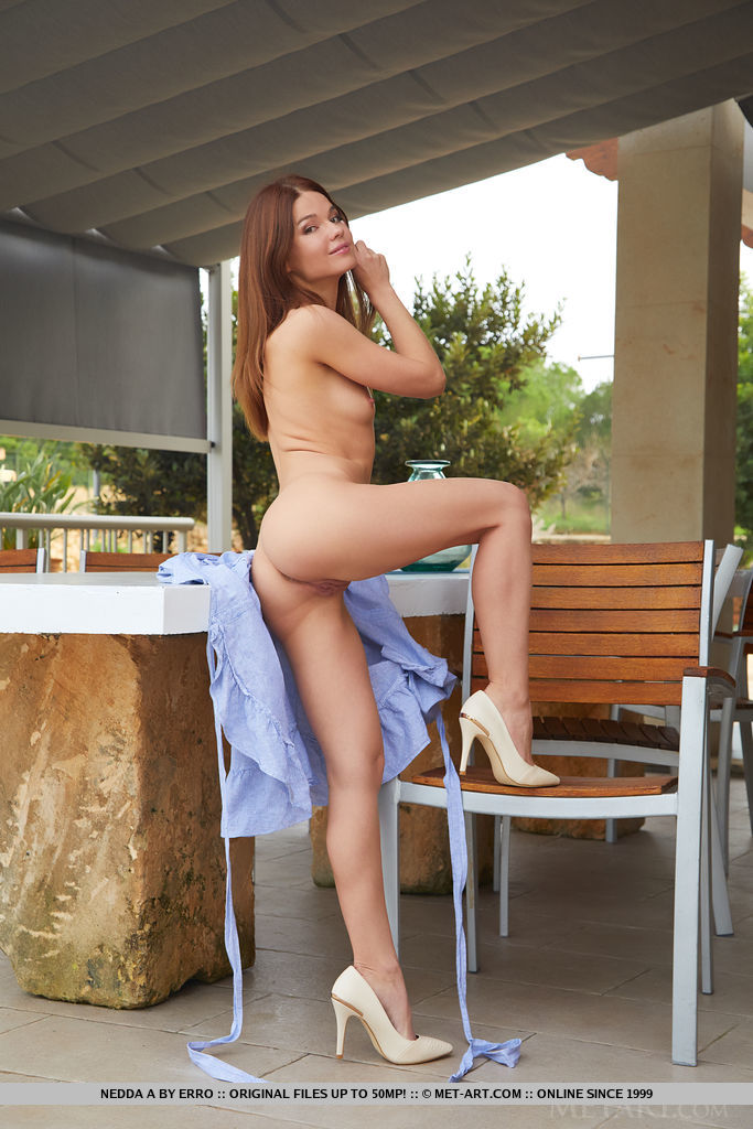 Redhead Nedda A reveals her petite body as she undress on the table.