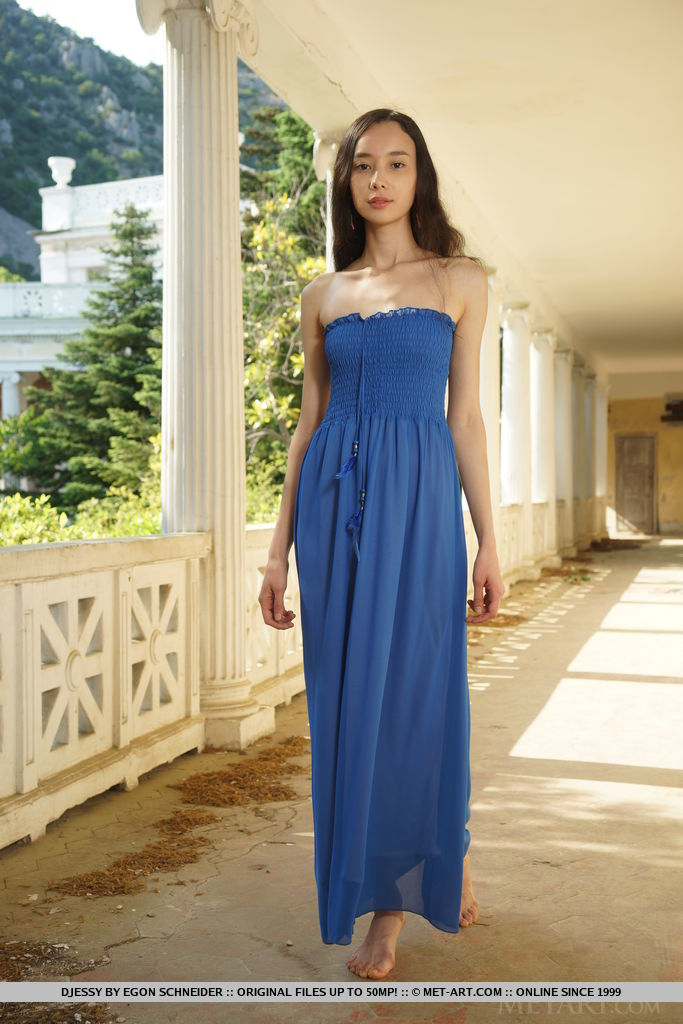 Djessy reveals her unshaven pussy as she strips her long blue dress.
