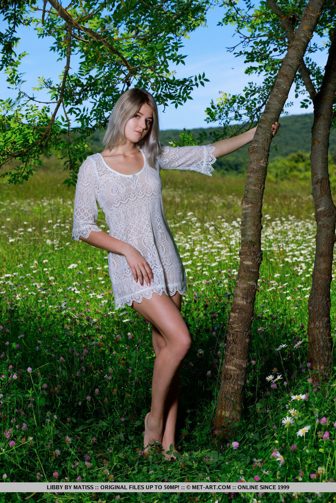 Libby shows off her flexibility posing outdoors. She strips out of her mini dress and gives a close-up of her beautiful body.