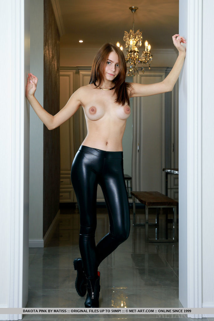 Dakota Pink is topless indoors. She then takes off her boots and leggings and poses on a bench.