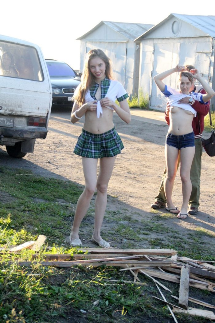 Three hot girls undresses in front of strangers