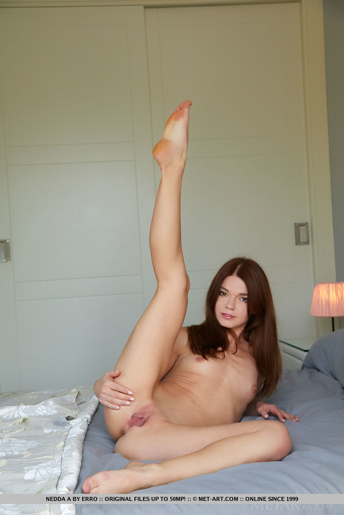 Cute Nedda A takes off her bra and panties on the bed. She poses her body to show off her smooth pussy.