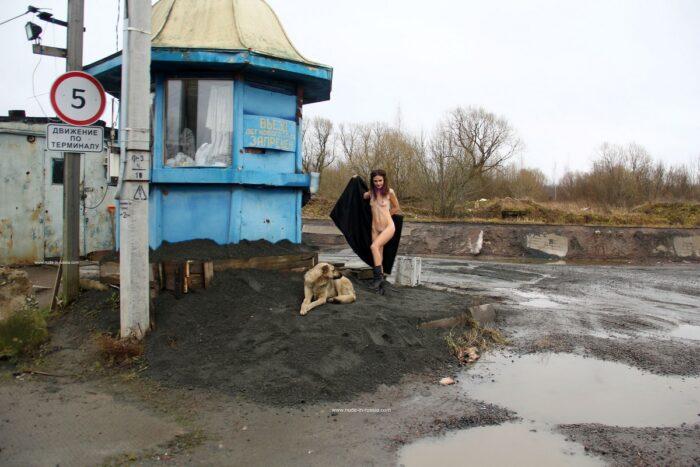 Naked Nadeshda N posing with guard dog