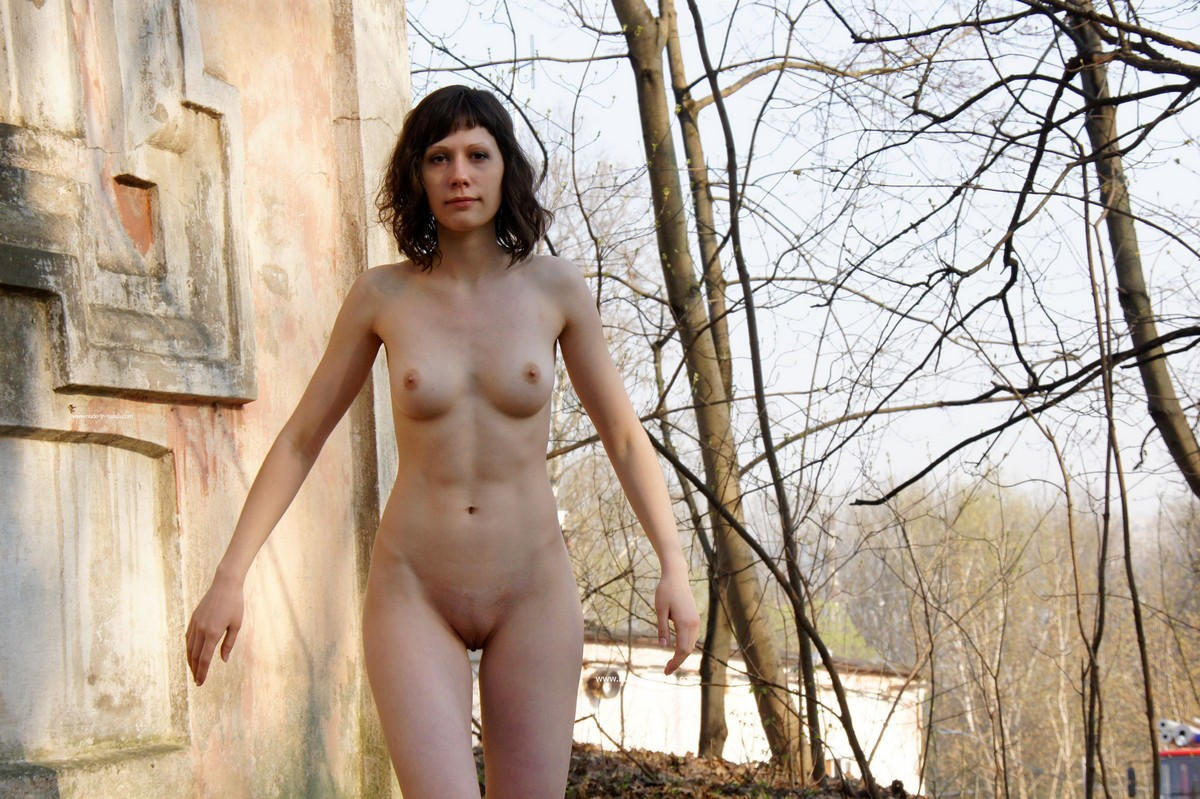 Hairy woman felicia gets naked on a park bench