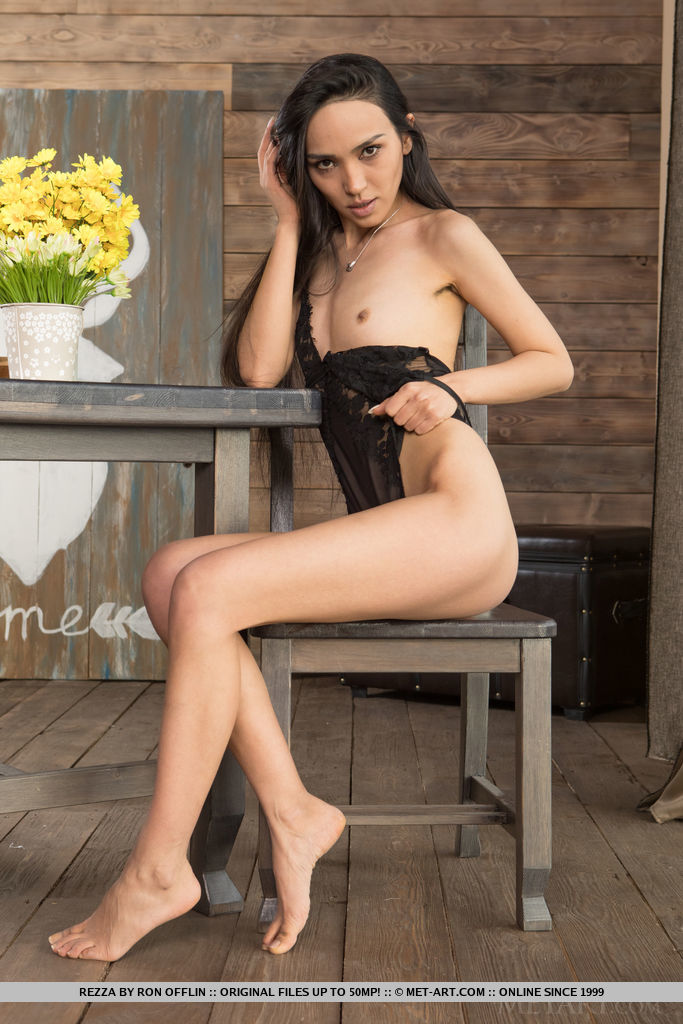 Sensual Rezza seduz sua lingerie pura e decide tirá-la e descobrir sua buceta peluda.
