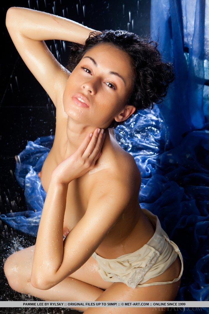 Pammie Lee está vestindo uma camisola justa que envolve seus recursos curvos. Com um olhar sensual em seu rosto, ela faz um strip-tease excitante para exibir seus seios grandes de tirar o fôlego e arbusto não aparado.
