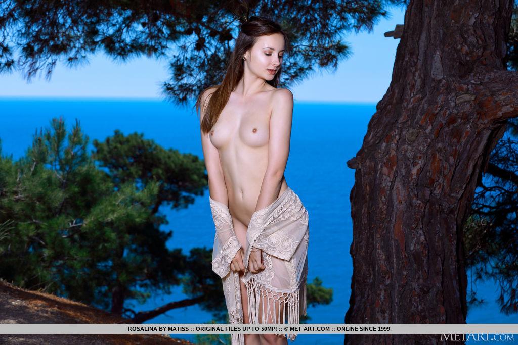 A charmosa Rosalina revela sedutoramente seu corpo esguio e bumtastic atrás ao ar livre sob uma árvore.