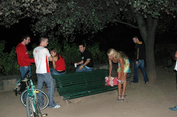 Blonde girl Maria Leonova undresses at night park in front of strangers