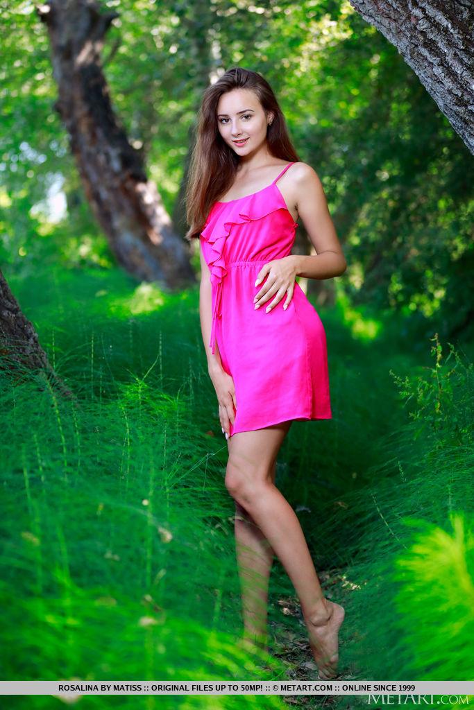 Rosalina desliza sedutoramente para fora do vestido rosa no bosque e descobre suas lindas curvas, bumbum bolha e coochie sem pelos.